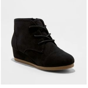 Mad Love Shelby Lace Up Black Suede Wedge Booties